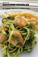 Zucchini Noodles With Shrimp & Broccoli Alfredo Sauce